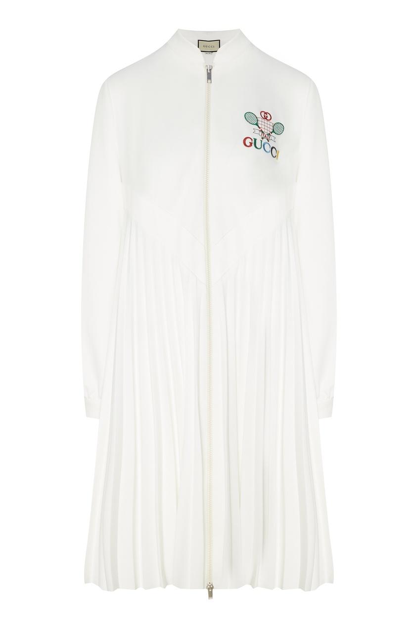 Купить Платье на молнии с вышивкой Gucci Tennis белого цвета