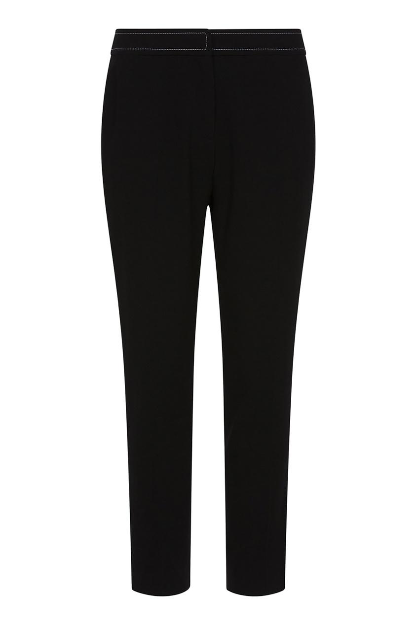 Купить Черные брюки с белой отстрочкой черного цвета