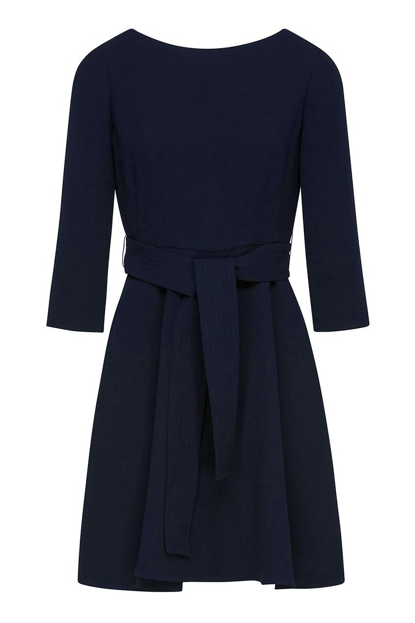 Купить Темно-синее трикотажное платье с поясом синего цвета