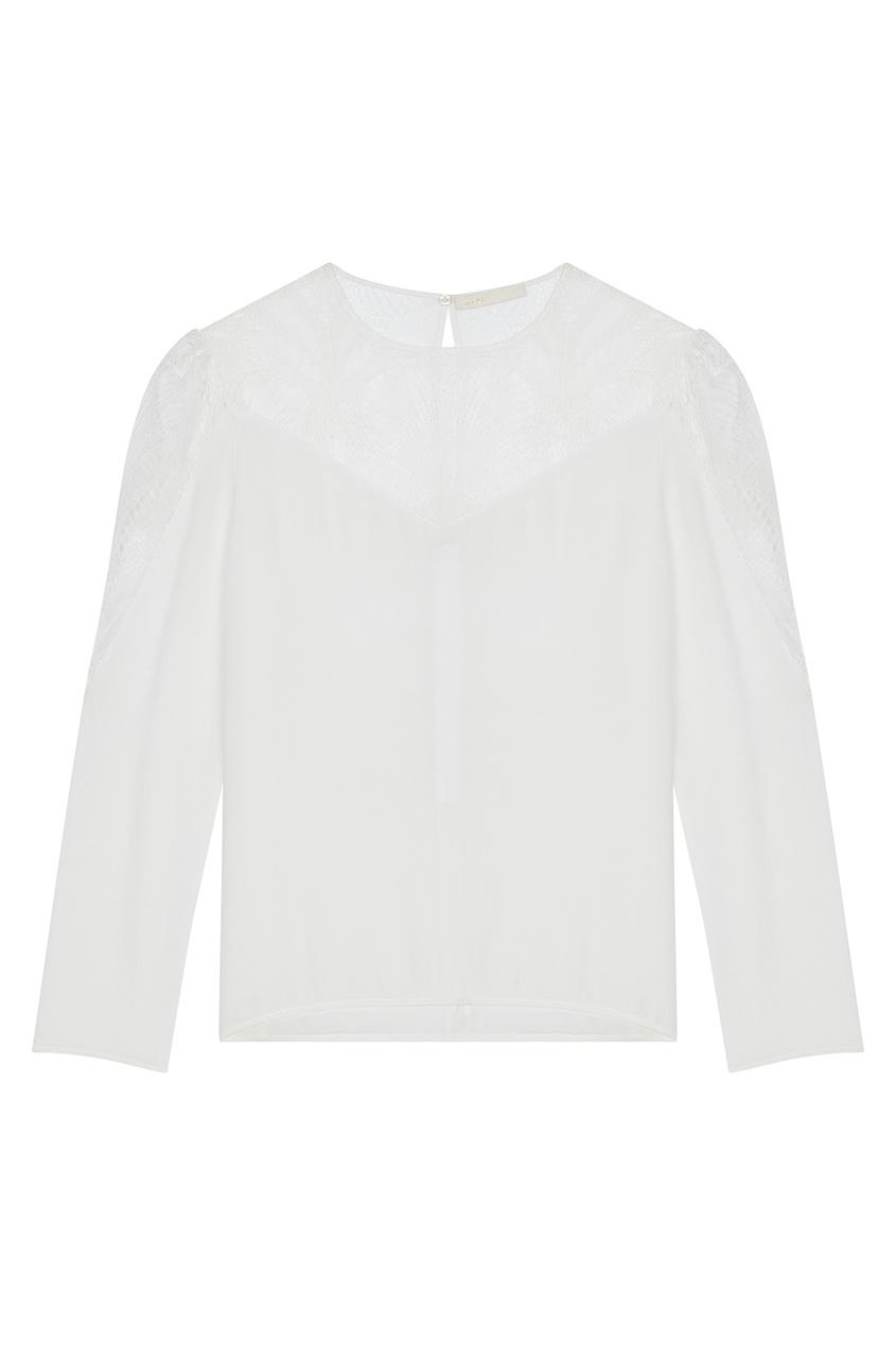 Купить Белая блуза со вставками от Maje белого цвета