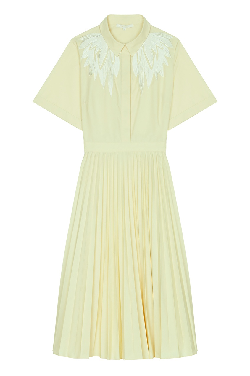 Купить Желтое платье с вышивкой от Maje желтого цвета