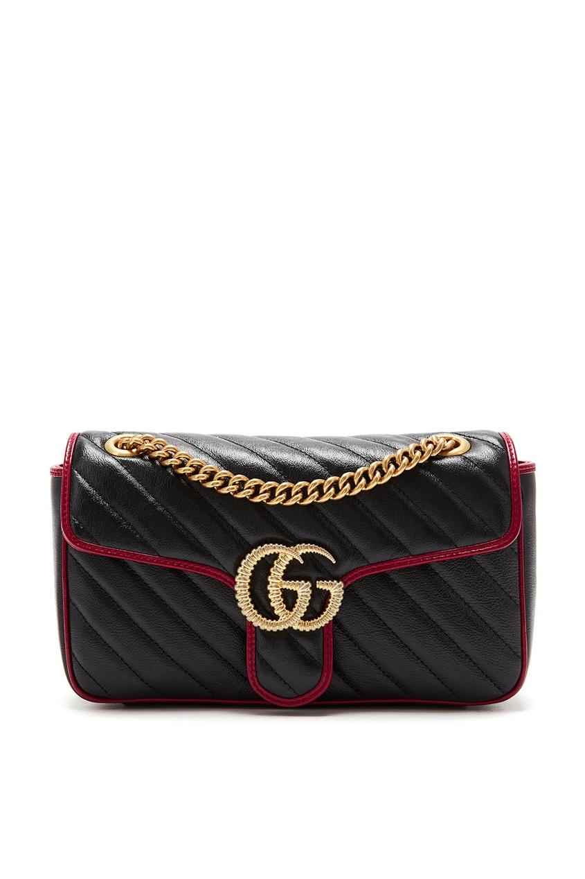 Купить Черная с красным сумка-кроссбоди GG Marmont от Gucci черного цвета