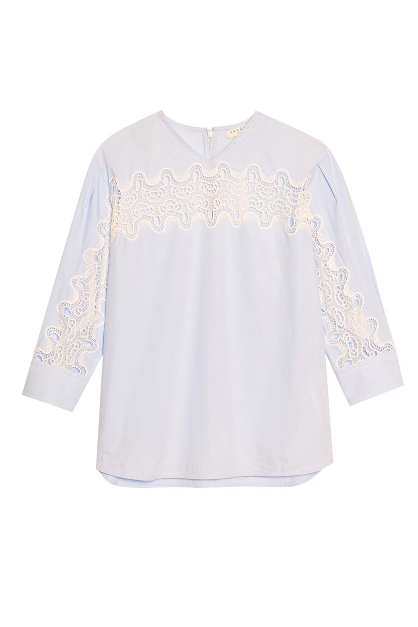 Купить Голубая блуза с кружевной вставкой от Sandro синего цвета