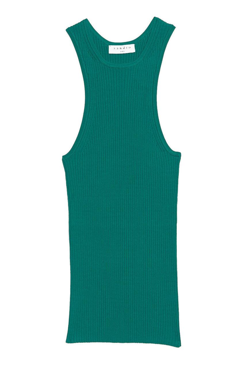 Купить Зеленый топ в рубчик от Sandro зеленого цвета
