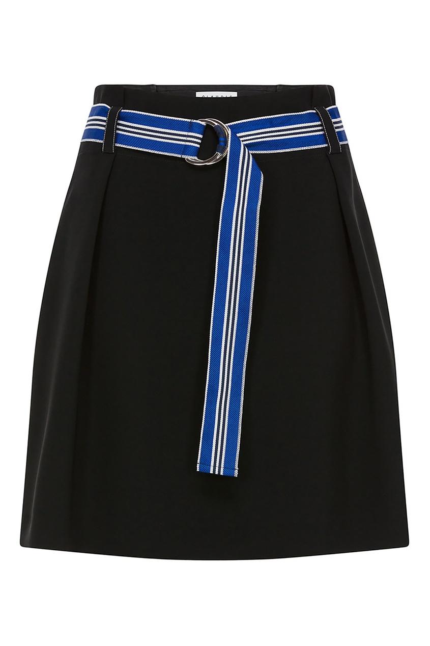Купить Темно-синяя юбка с ярким поясом синего цвета