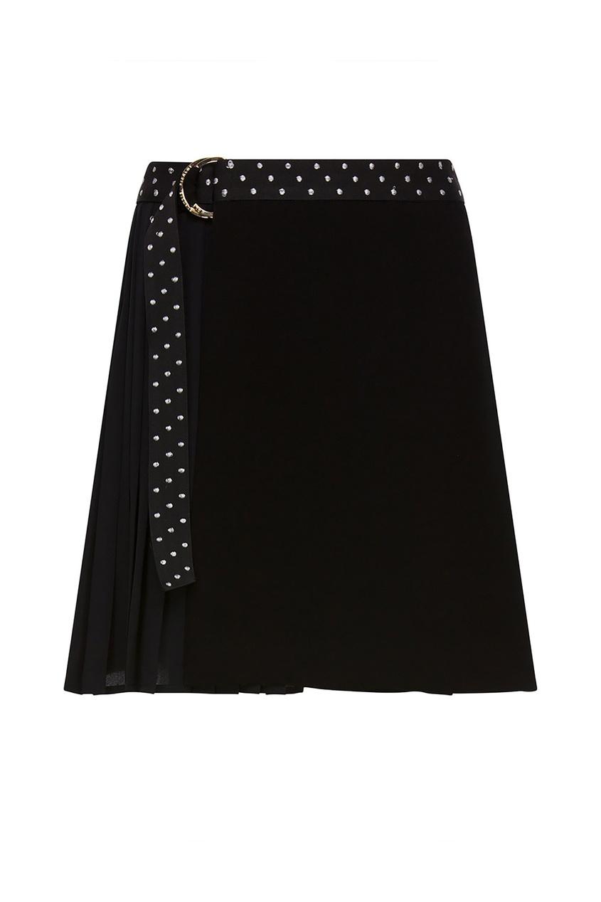 Купить Черная юбка с плиссированной деталью и поясом черного цвета