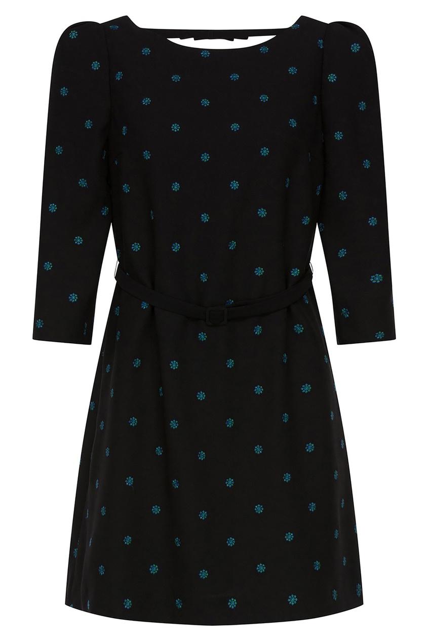 Купить Короткое платье с вышивкой в виде цветов черного цвета
