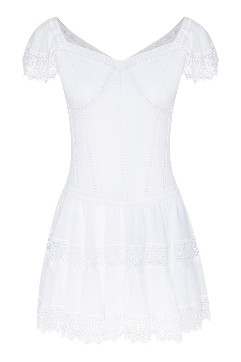Купить Хлопковое платье мини Lina от Charo Ruiz белого цвета