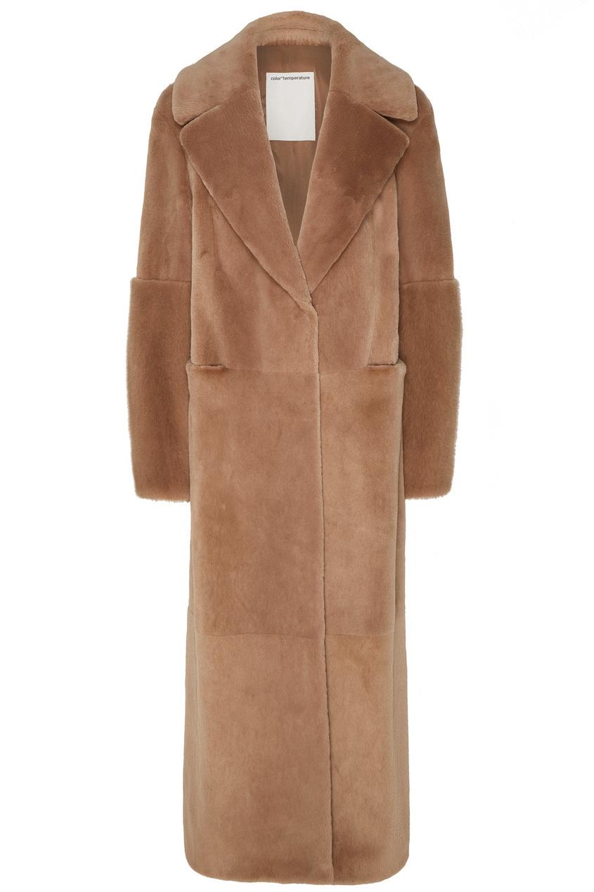 Купить Бежевое меховое пальто от Color°Temperature бежевого цвета