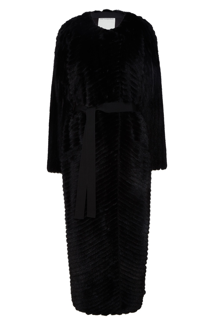 Купить Черное меховое пальто от Color°Temperature черного цвета