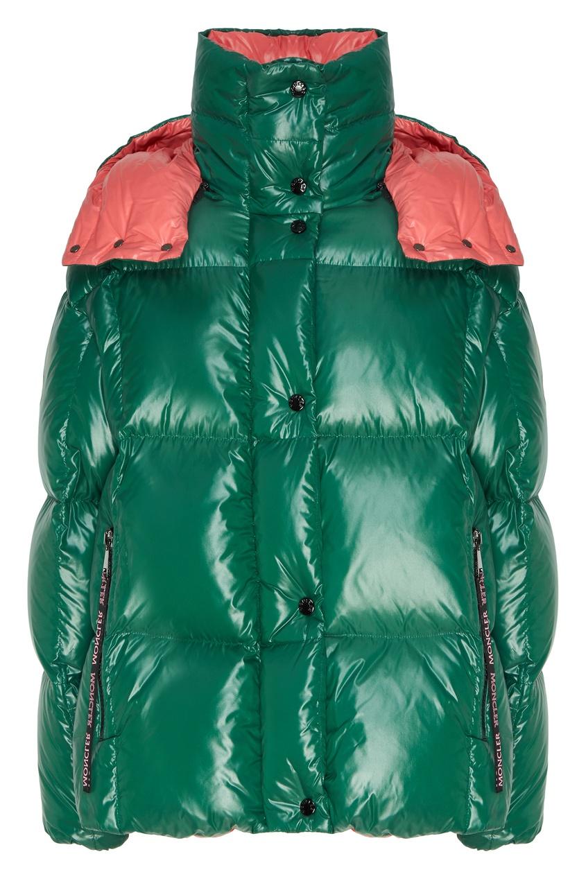 женский пуховик moncler, зеленый