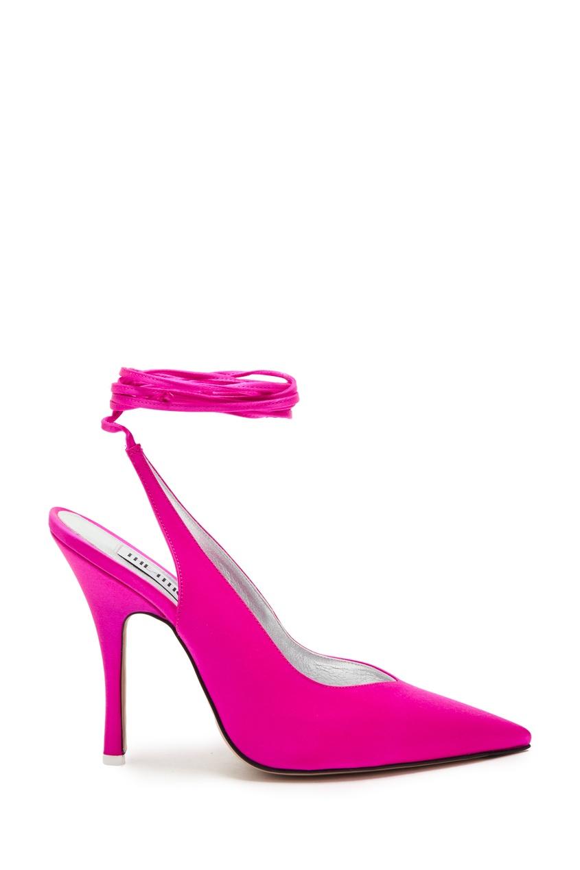 Атласные слингбэки цвета фуксия Attico 1869140065 розовый фото