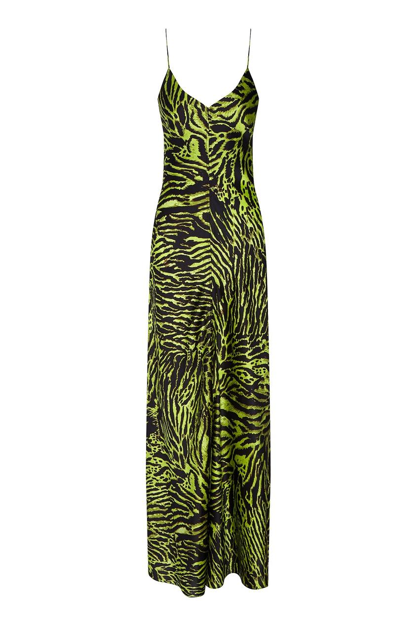 Платье-комбинация с тигровым принтом от Ganni