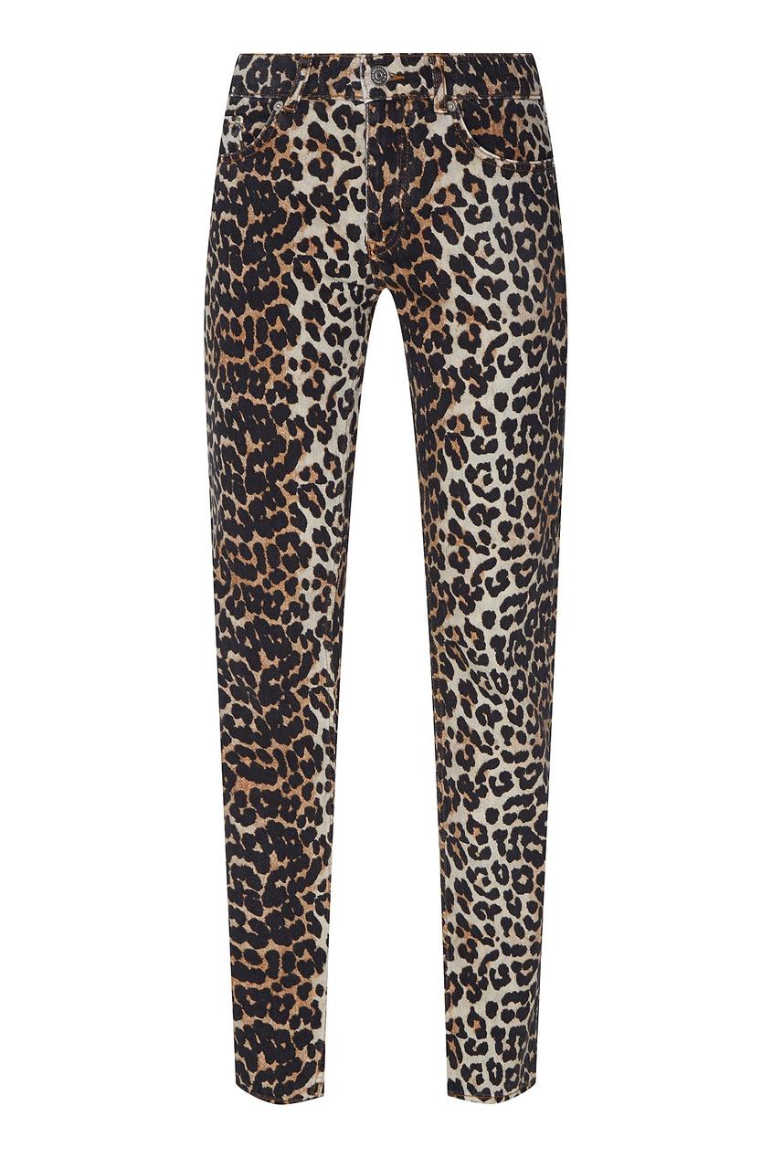 Леопардовые джинсы с разрезами от Ganni