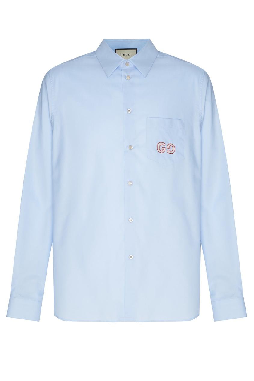 мужская рубашка gucci man, голубая