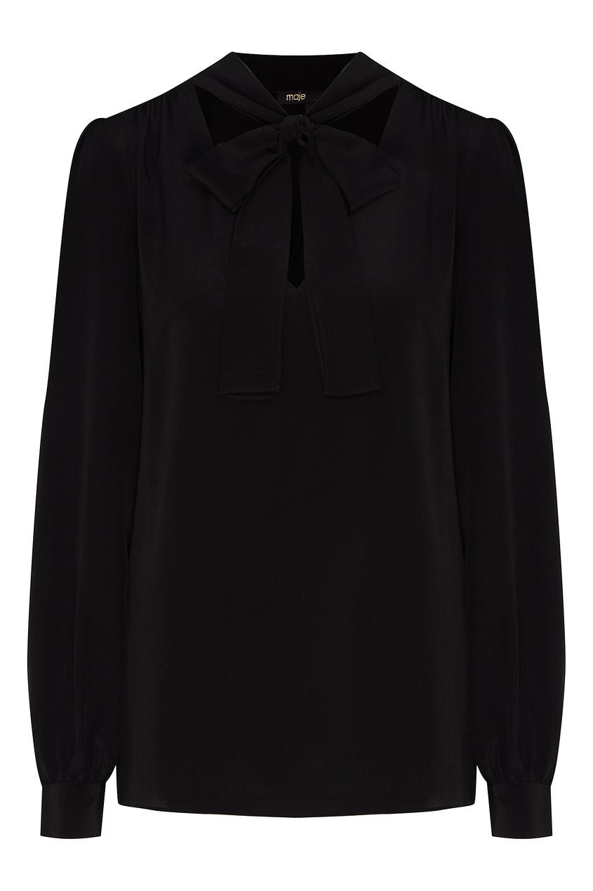 Купить со скидкой Черная шелковая блуза с бантом