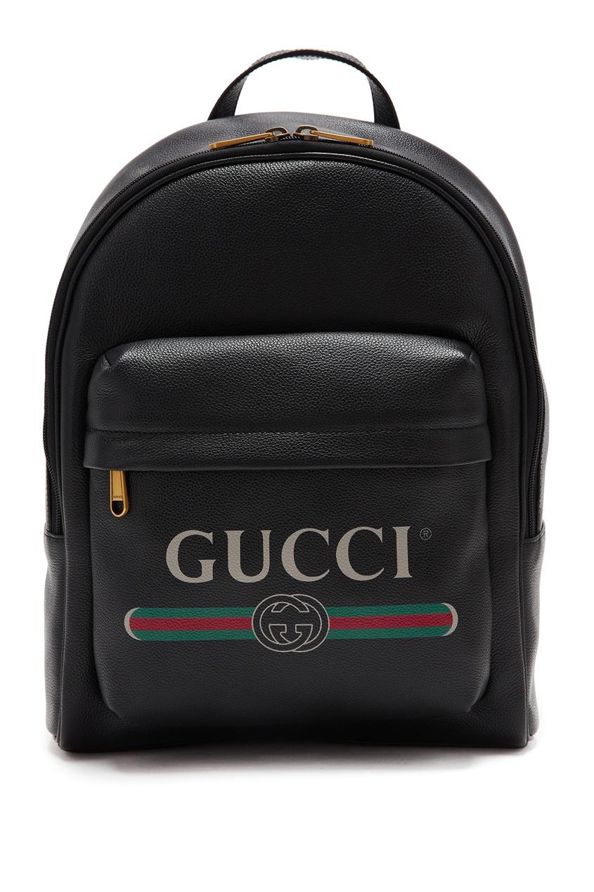 Черный кожаный рюкзак с винтажным логотипом от Gucci