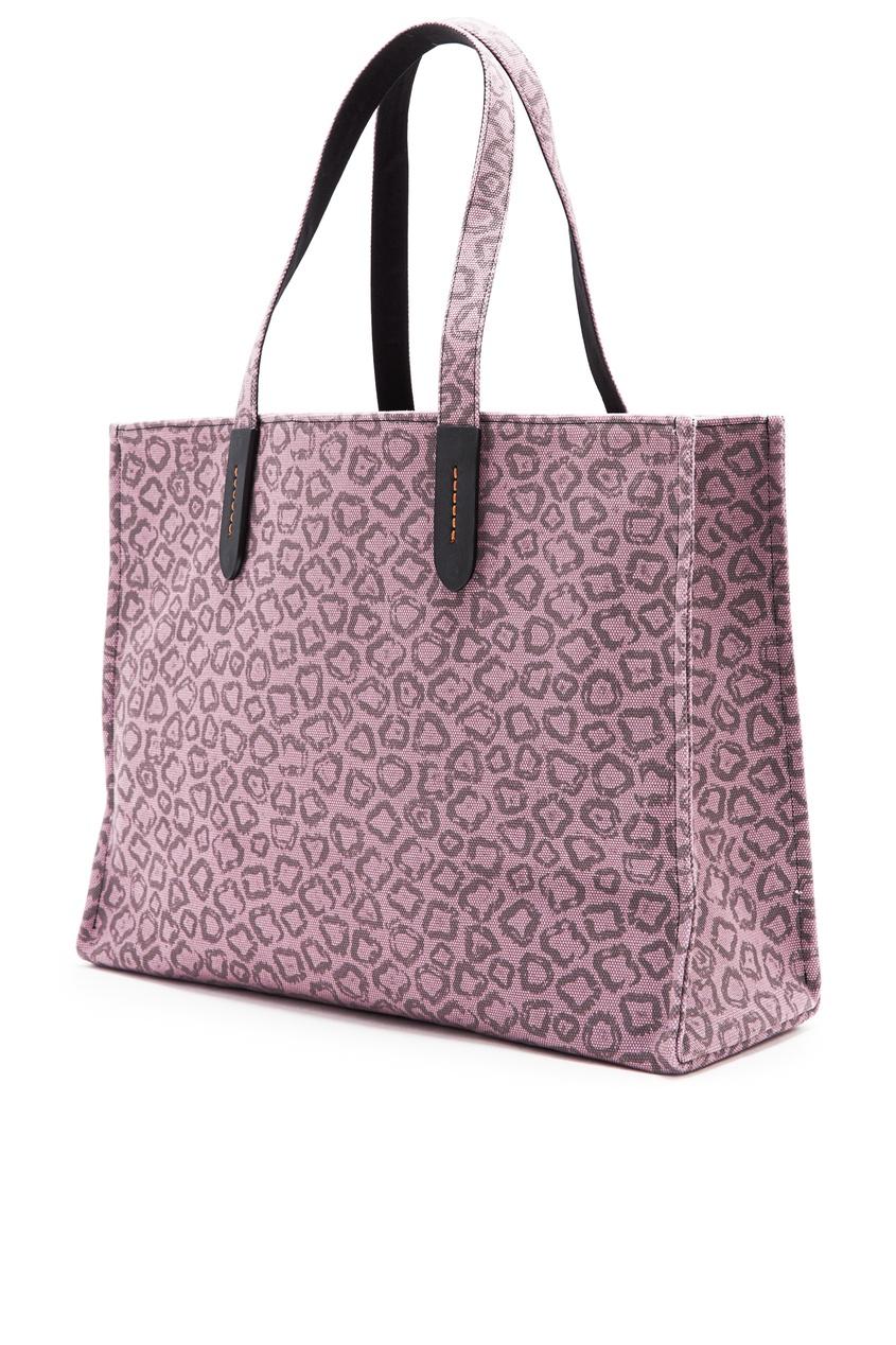 мужская сумка-тоут coach, фиолетовая