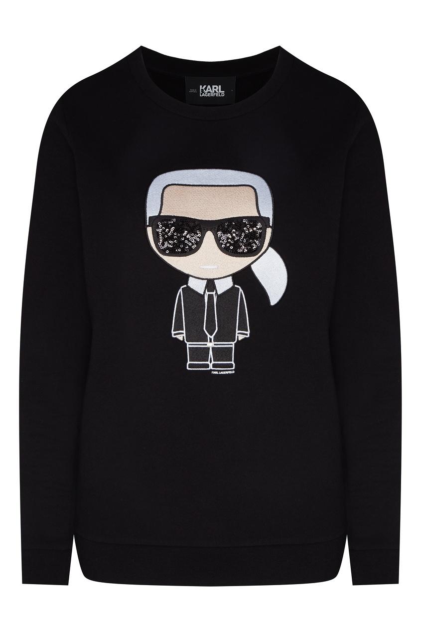 Черный свитшот с крупным логотипом от Karl Lagerfeld