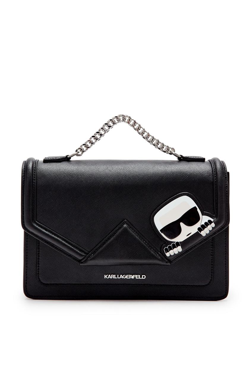 Черная сумка с аппликацией и цепочкой Karl Lagerfeld