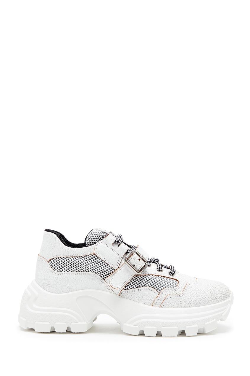 Белые кроссовки с застежками Miu Miu