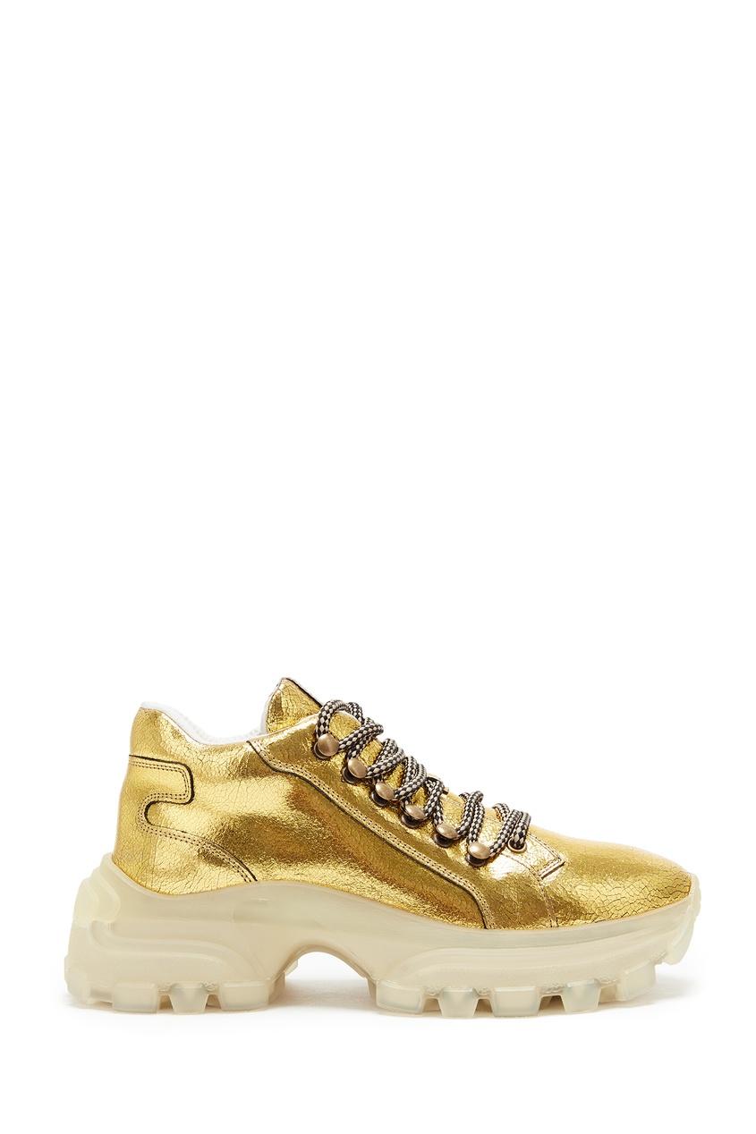 женские кроссовки miu miu, золотые