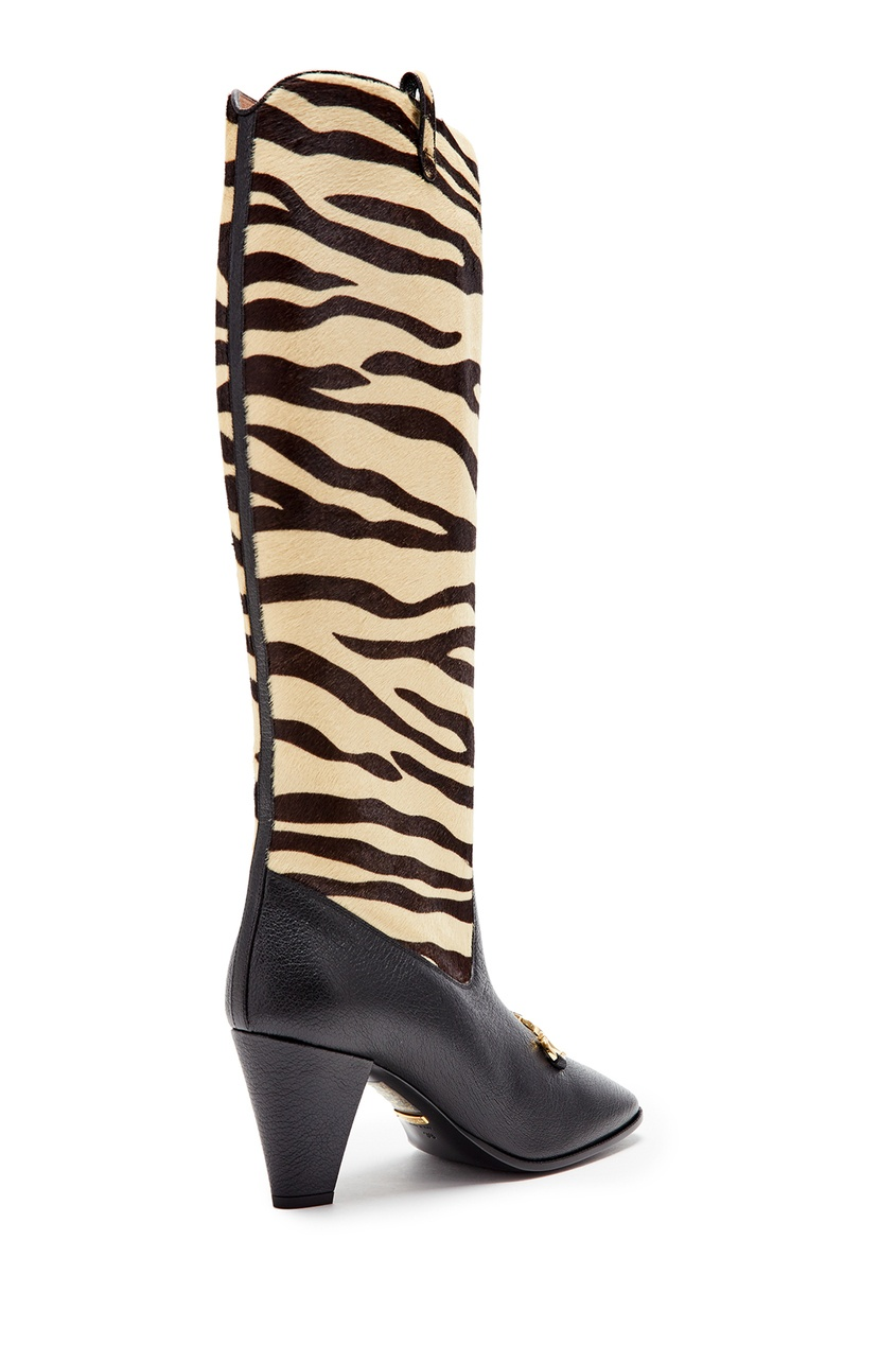 Комбинированные сапоги Zumi Gucci NATURAL BLACK/BLACK 470143083