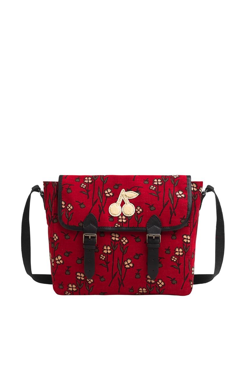 Красная сумка с принтом Bonpoint