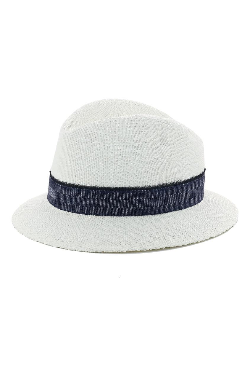 Белая шляпа с контрастной лентой от Eleventy
