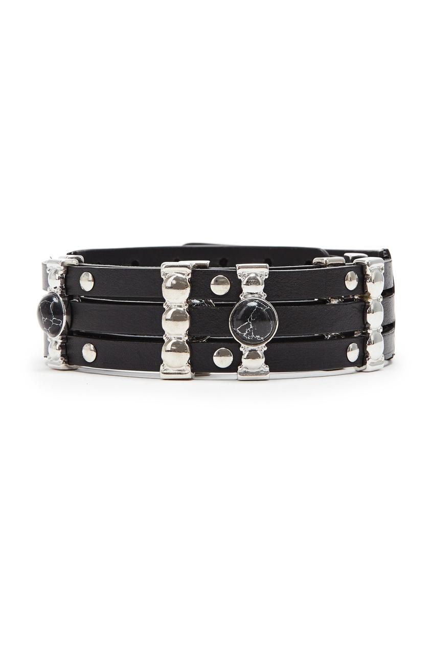 Черный кожаный ремень с серебристым декором Maje