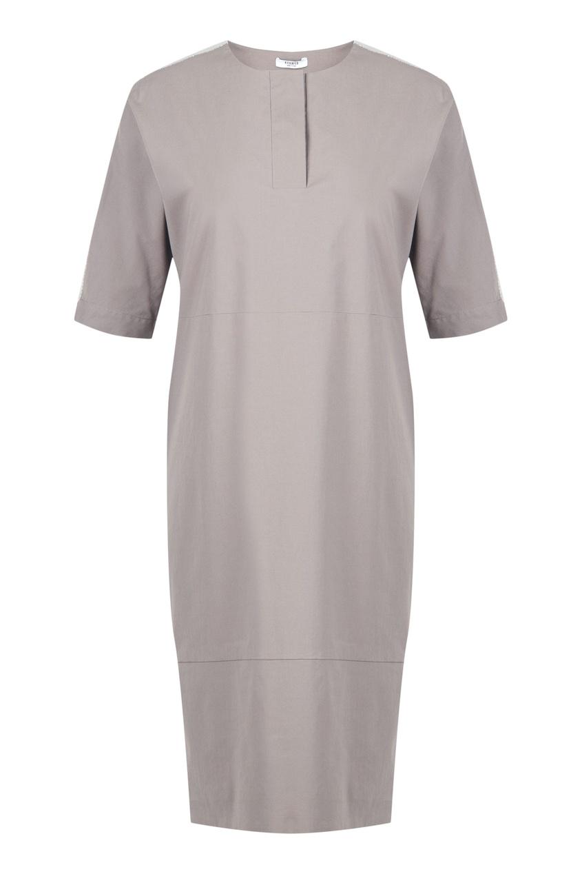 Бежевое платье с контрастной полосой от Peserico