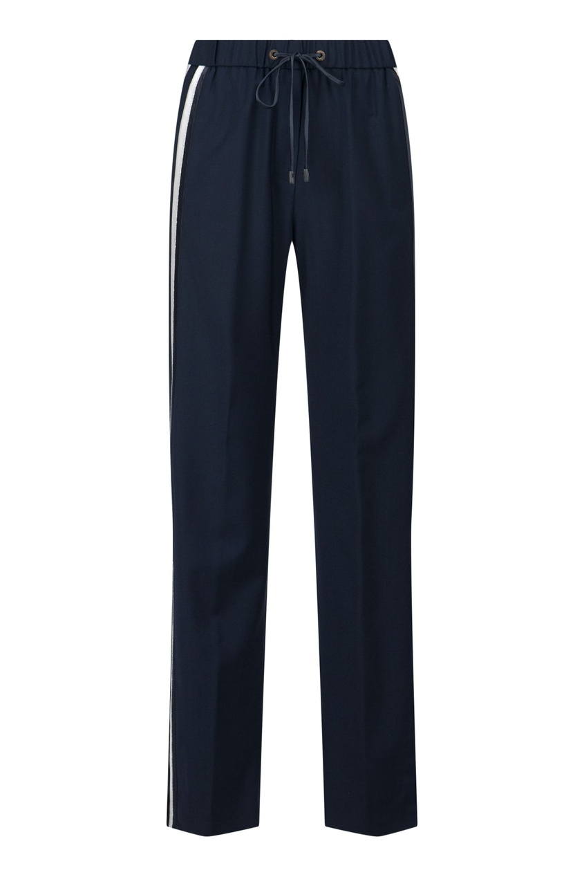 Синие брюки с лампасами и разрезами от Peserico