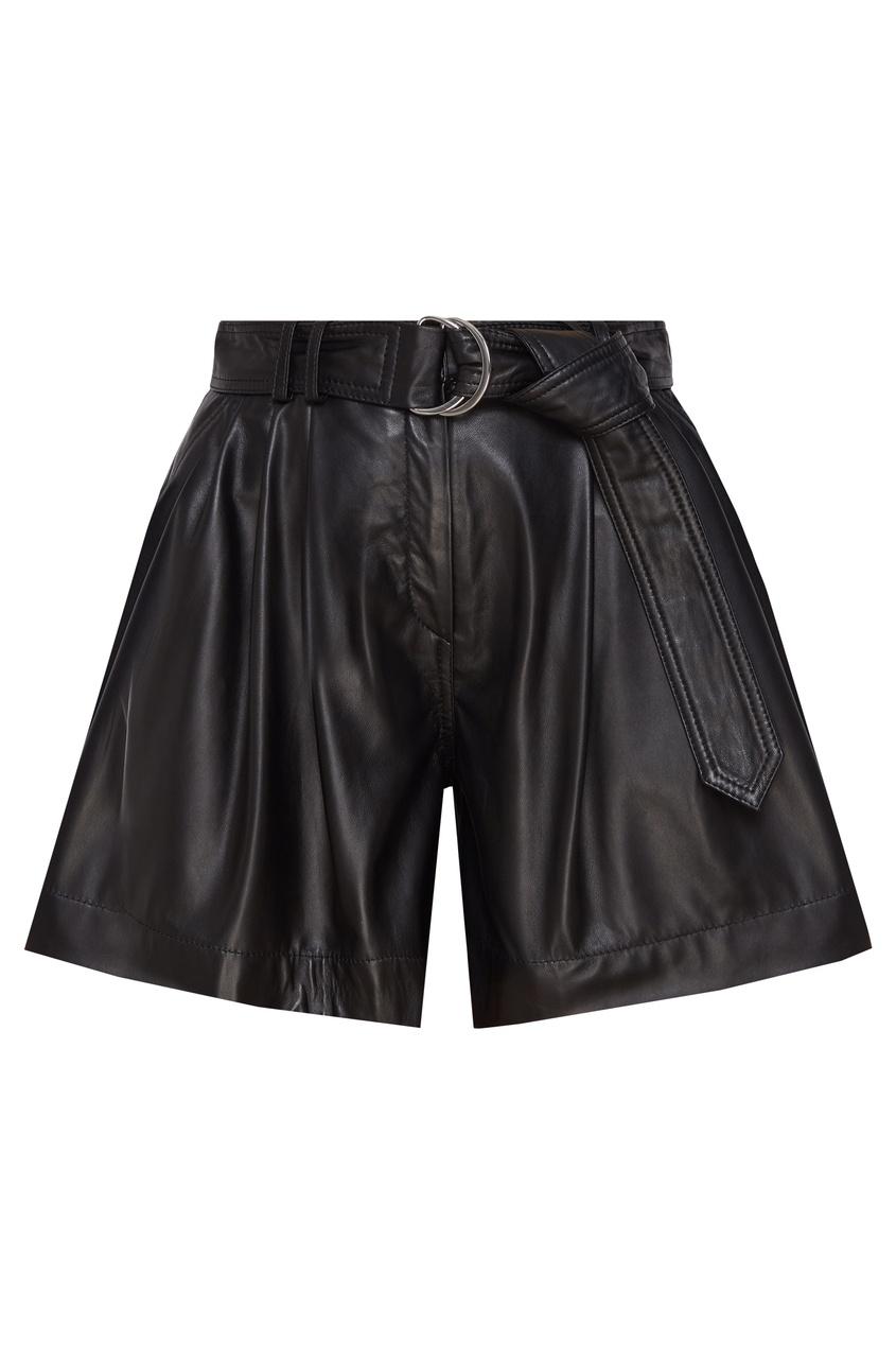 Кожаные шорты с высокой посадкой и поясом
