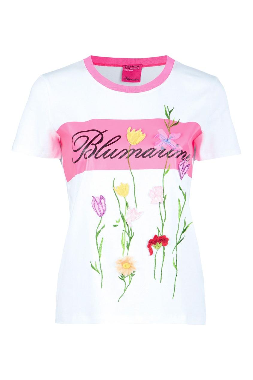 женская футболка blumarine, белая