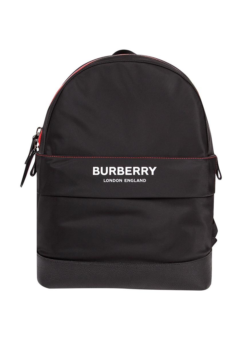 Черный рюкзак с контрастной отделкой Burberry Kids