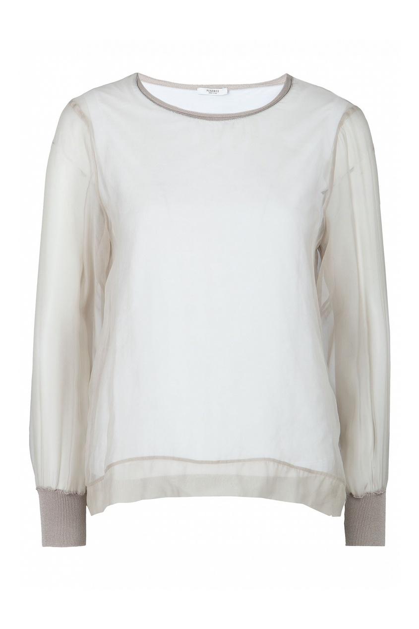 Комбинированная бежевая блузка от Peserico