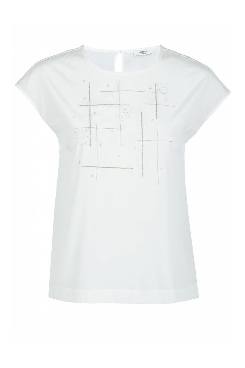 Белая блузка с отделкой кристаллами от Peserico