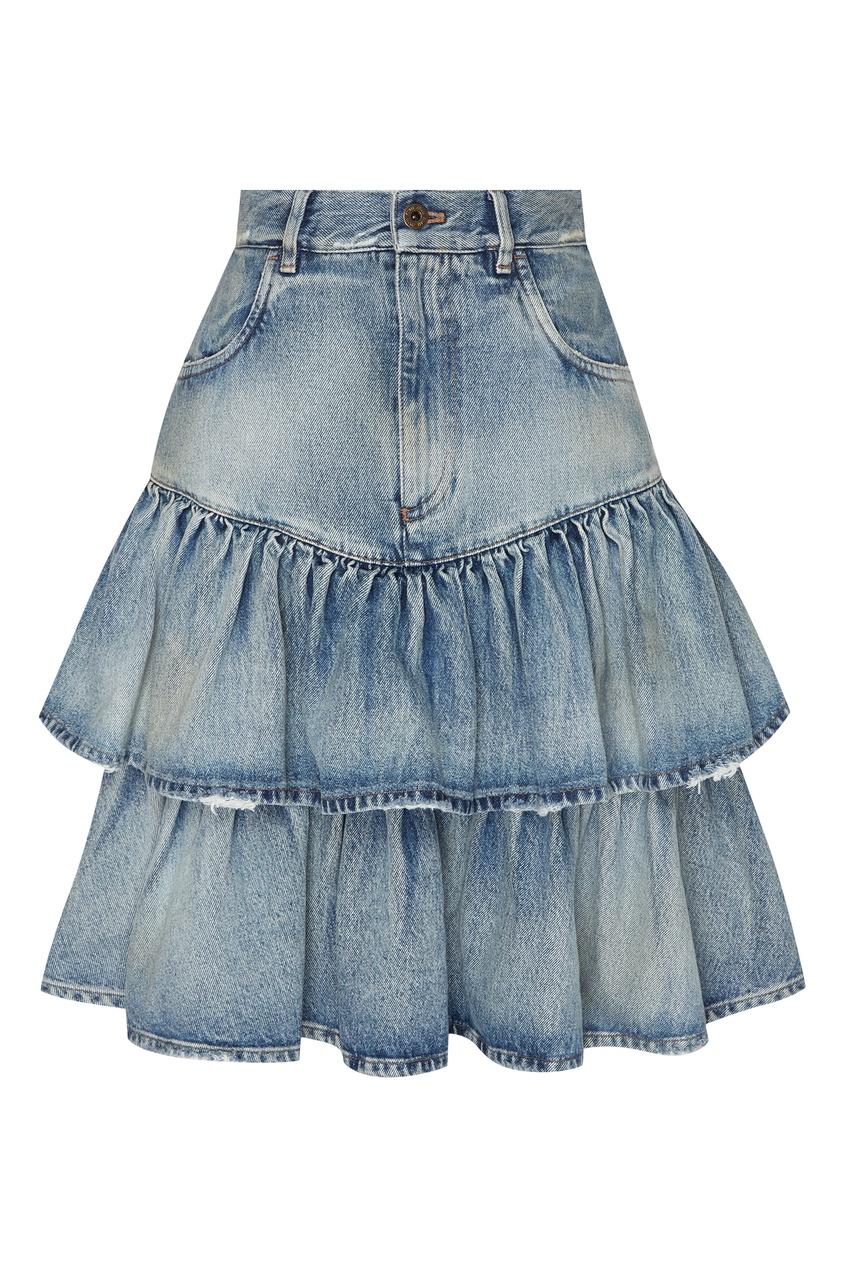 женская юбка miu miu, голубая