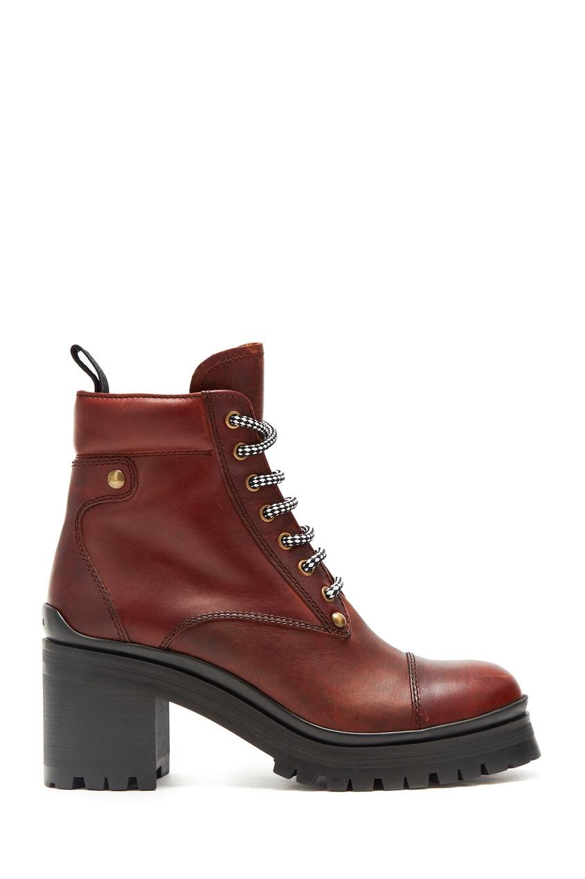 Коричневые ботинки на каблуке от Miu Miu