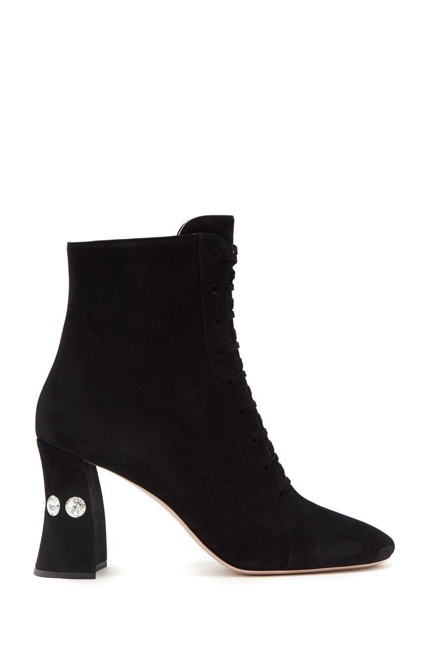 Купить Замшевые ботинки с кристаллами от Miu Miu черного цвета