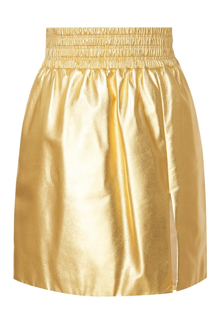 женская юбка miu miu, золотая