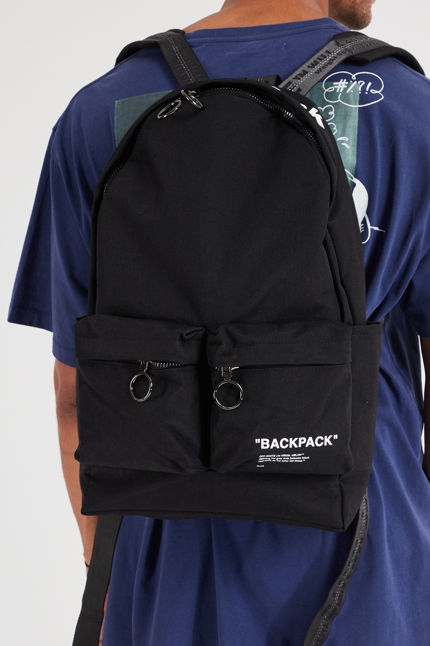 Фото 2 - Черный рюкзак с карманами черного цвета