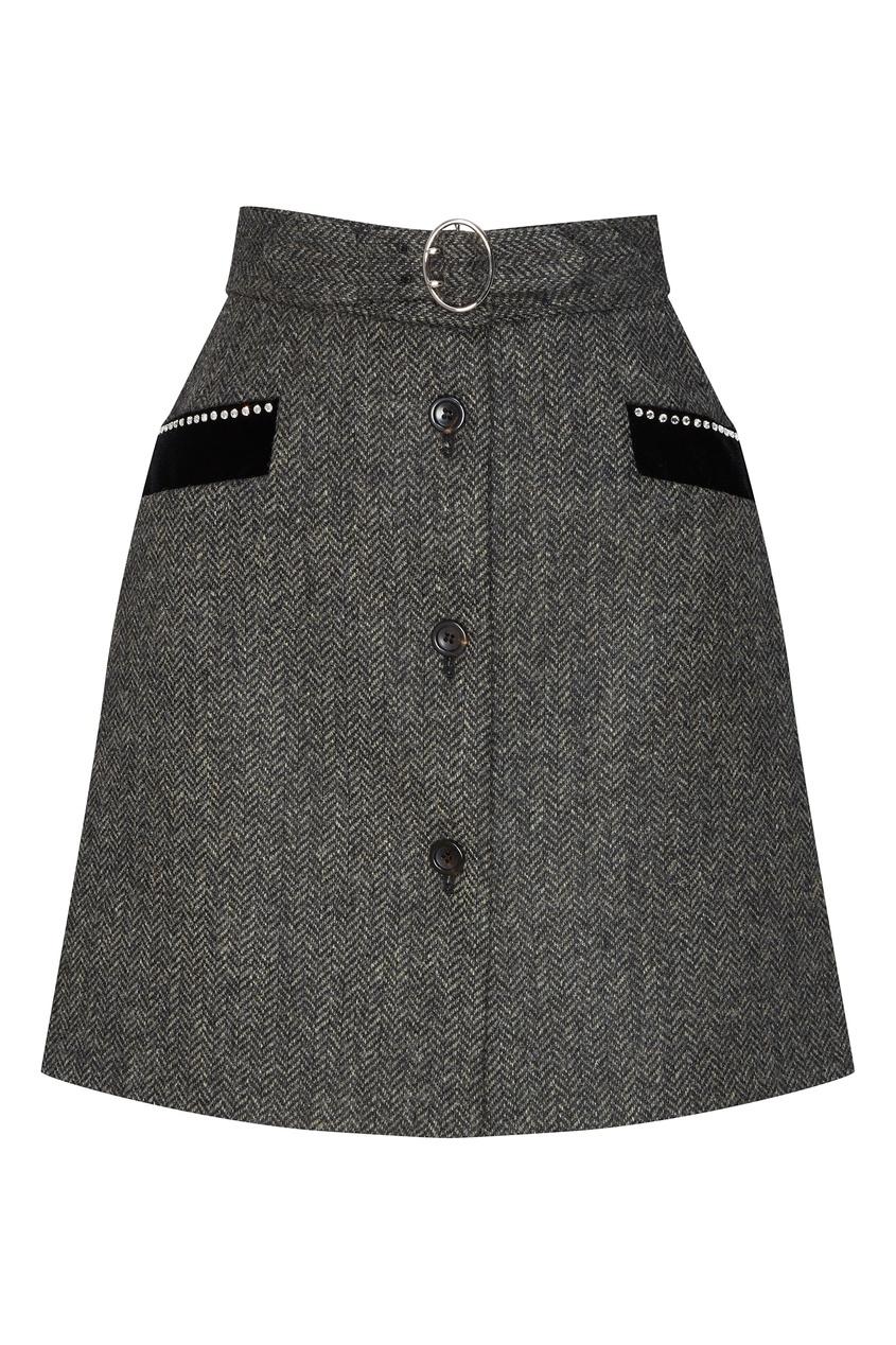 женская юбка miu miu, серая