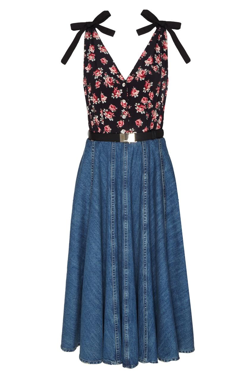 Купить Комбинированное платье без рукавов от Miu Miu цвет multicolor