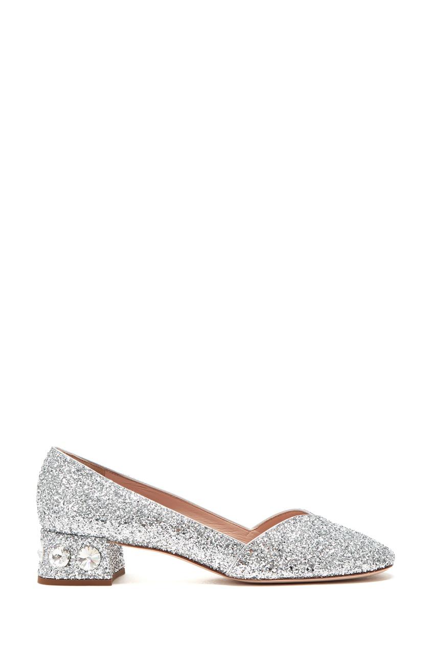 женские туфли miu miu, серебряные
