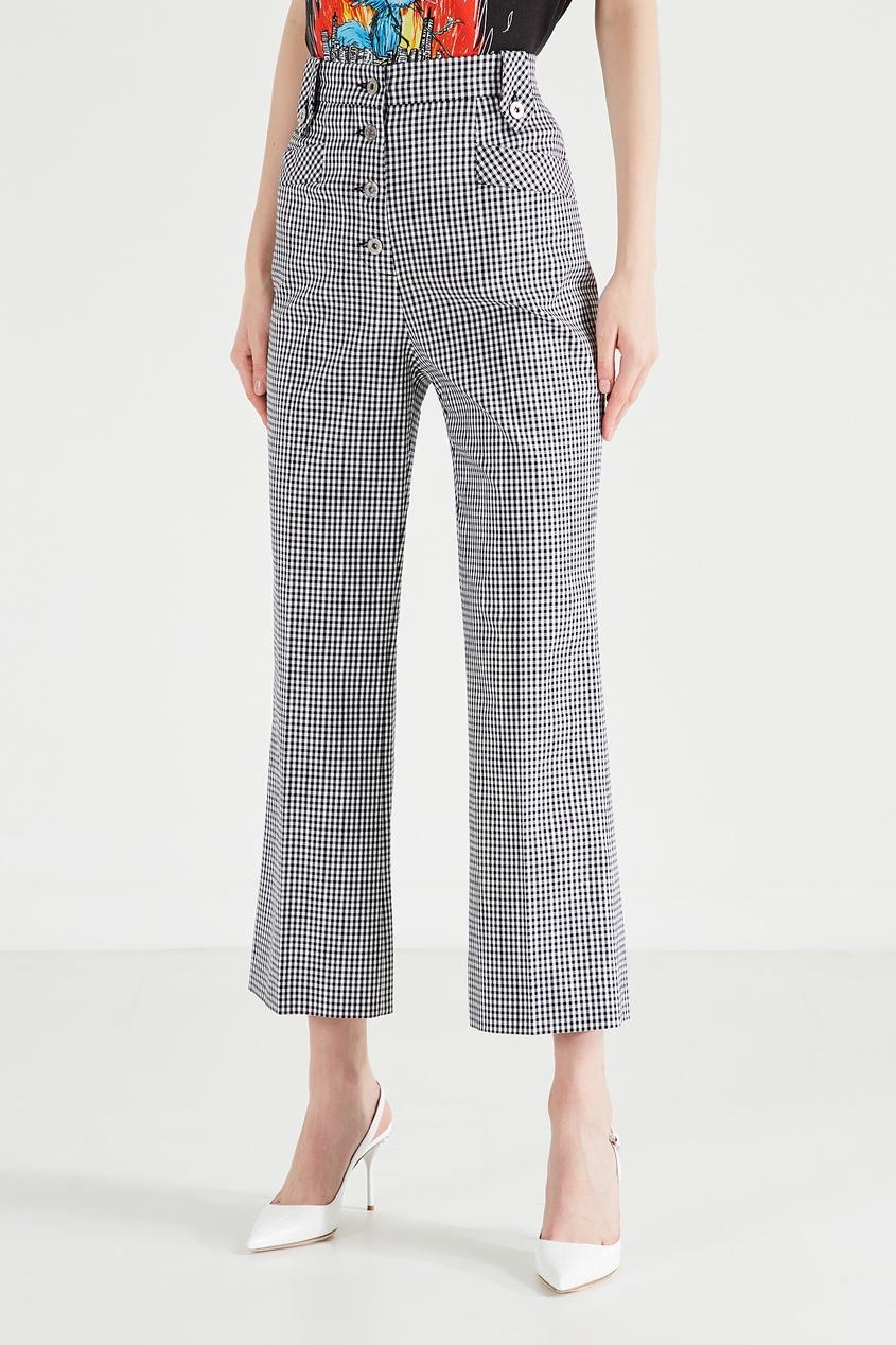 Клетчатые брюки из хлопка от Miu Miu