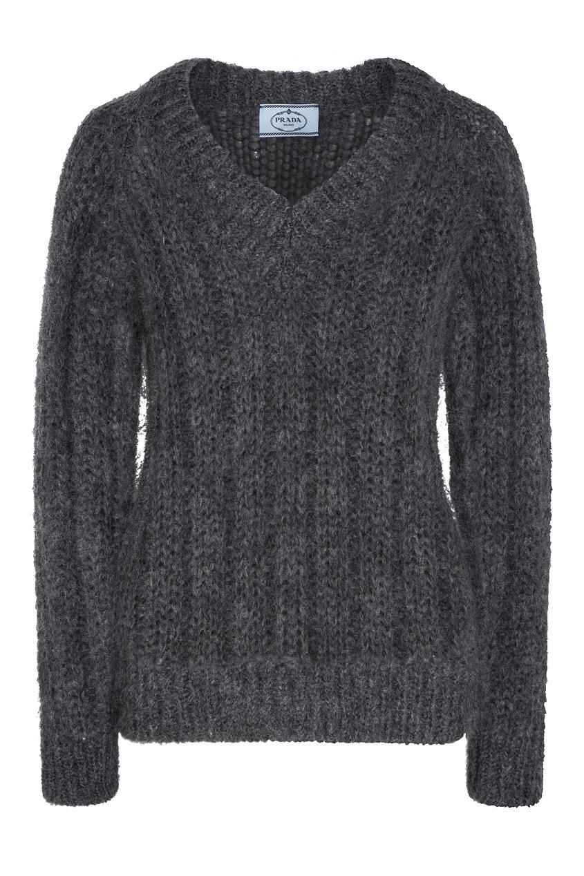 женский пуловер prada, серый