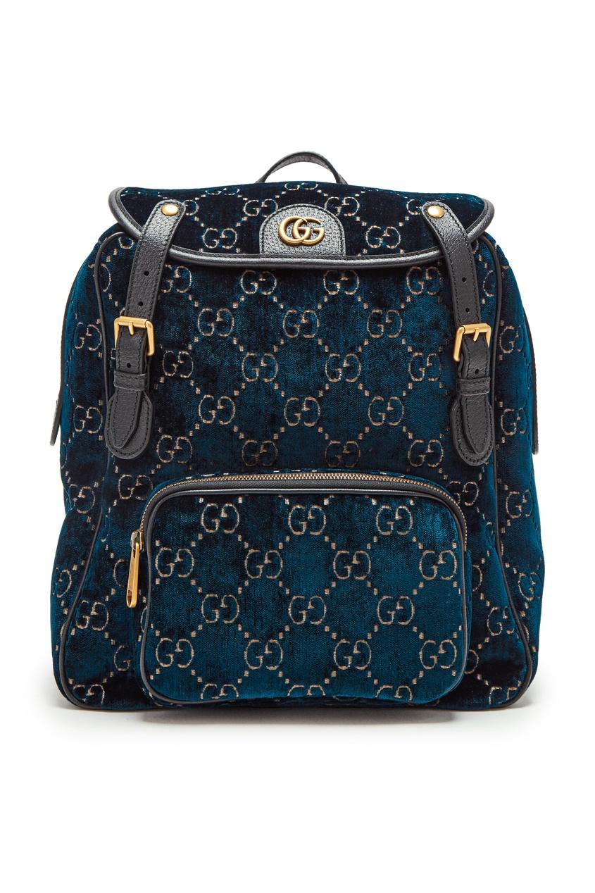 Бархатный рюкзак с монограммой GG от Gucci