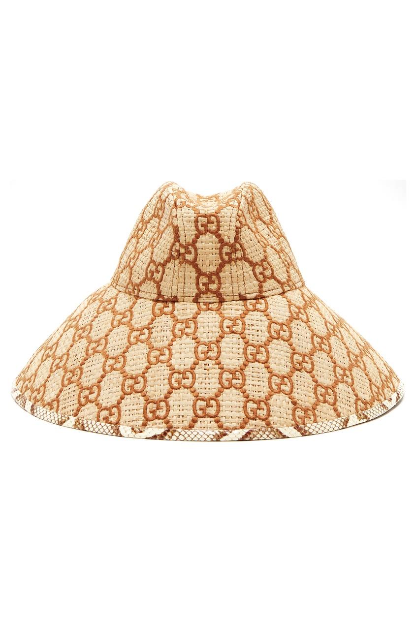 Бежевая шляпа с монограммой GG от Gucci