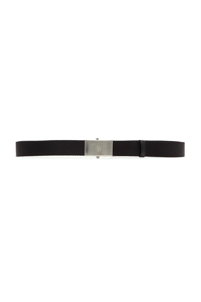 Текстильный ремень черного цвета от Prada